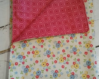 Baby Receiving Blanket Flannel, yellow, red, blue daisy