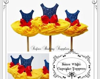 12pc set Snow White cupcake toppers,Snow white decoration,birthday cupcake toppers,snow white photo props,princess party,disney princess