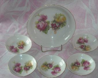 Antique German Porcelain Master Berry Bowl & Five Individual Berry Dishes, #ET010
