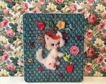 Vintage Kitsch Tin Cute Cat Kitty Gray Dunn
