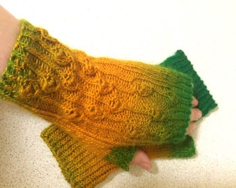 Bells yellow green arm warmers