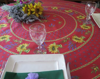 "70"" diameter Round Tablecloth.CHOOSE the fabric:100% cotton OR oilcloth!Fabric from Provence , France .Sunflowers in red"