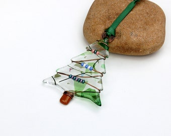 Fused Glass Christmas Tree Ornament, Fused Glass Christmas Tree Suncatcher