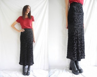 90's goth/rocker black stretch devore velvet maxi skirt