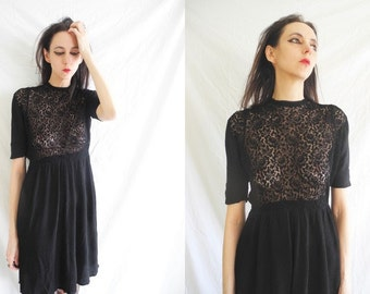 60's goth/grunge black lace and crepe babydoll/shift dress