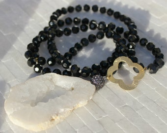 Black Beaded Necklace, black necklace, glass beaded necklace. white agate beaded necklace, long black necklace, white agate necklace