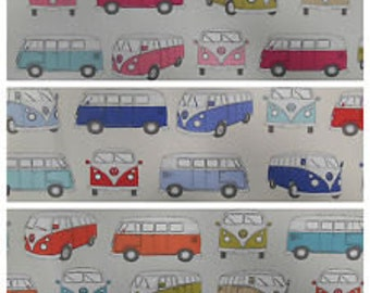 Stunning Vintage Retro Officially Licienced VW Camper Van Fabric in 3 colourways 100% Cotton Upholstery Curtain Fabric UK Design