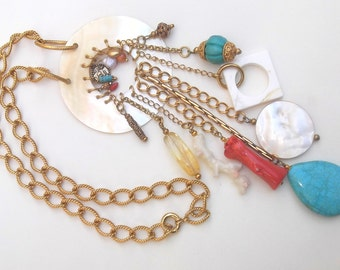 SALE Vintage Alcozer & J Necklace, Coral, Turquoise, Mother of Pearl, Citrine, Pearl, Alcozer and J bijoux