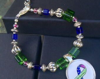 AVN Awareness Bracelet - Handmade Beaded - Silver and Crystals - Avascular Necrosis
