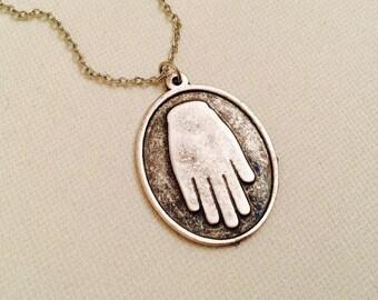 Silver Hamsa Hand Necklace, Antique Silver Necklace, Bohomian Arabic Necklace, Protection pendant, Sacred symbol, Christmas Sale
