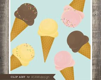 Ice Cream Clip Art Set - Ice Cream Clipart - Gelato Clip Art - PNG