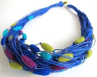 Felt Unique Cobalt Linen String Necklace with Violet Cobalt Lemon and Violet Felted Beads Merinowool Boho