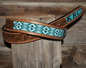 Leather Inlay Beaded Belts