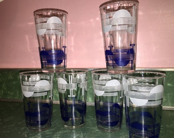 Early Mid Century Modern DECO #TUMBLER SET of 6 1940s early 50s