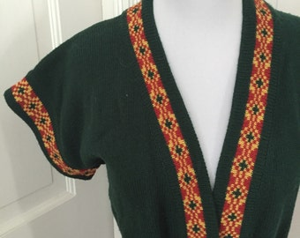 70's JL Hudson's deep green tunic style wrap sweater