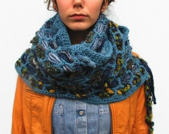 Handmade Knit Scarves cowl scarf chunky crochet scarf . Unisex Scarves . Boho Scarf . Handwoven scarf . Shades of Light blue . OOAK scarf