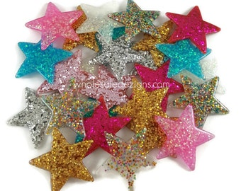 Grab Bag Glitter Star Resins - Cabochons - Flat Back Acrylic Embellishment - Pink, Silver, Hot Pink, Turquoise, Multi Colored, Gold - 1.5""