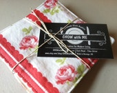 Shabby Chic, Reversible Fabric Cloth Coasters, Mug Rug, order as many as you like, by CHOW with ME