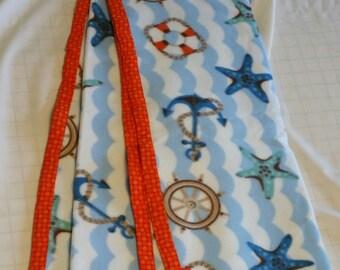 "Hand Crafted Nautical Beach Scene Fleece Blanket 38"" X 63""   NEW"
