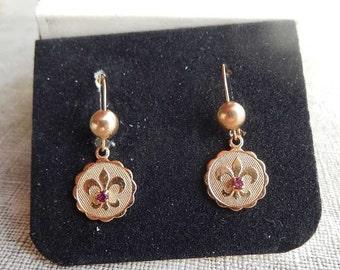 1970s Sarah Coventry Fleur de Lis Earrings in Box