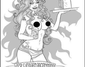 Beer O'Clock, DIY Print at Home Digital Download Coloring Page, Adult Coloring, Craft Beer, Nude, Pinup, Burlesque, Beer, Beer Girl