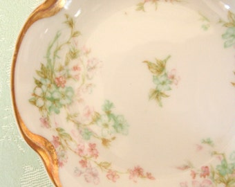 Antique Haviland & Co. Limoges Berry Bowls Set of 4 | Floral Green and Pink with Gold | Circa 1890's to 1930 | Limoges France