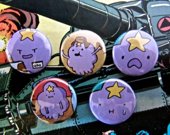 Lumpy Space Princess - Adventure Time Upcycled Comic Book Button Badge Set.