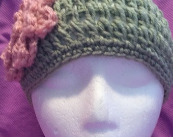 Light Sage Crocheted Beanie w/Pink Flower w/Crystal Button One Size Fits Most Adults/Teens 148