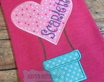 Heart Hot Air Balloon Machine Embroidery Appliqué Design