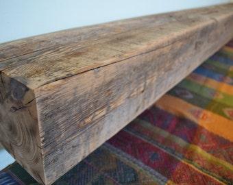 "Reclaimed  Wood Fireplace Mantel Shelf 72"" x 6"" x 6"" - Antique 1700s 1800s Barn wood Rustic Distressed Beam"