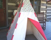 Roses and dots cottage chic country cottage teepee play tent girl made and ready to ship!