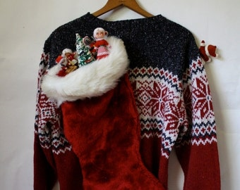 Sale Ugly Christmas Sweater / Vintage Sweater / DIY Christmas Sweater / Holiday Party Sweater / Santas N Stocking Sweater M/L