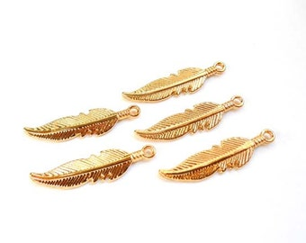 5 Gold Plated Feather Charms - 21-33-10