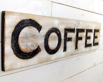 "Coffee Sign - Carved in a 40""x10"" Cypress Board Rustic Distressed Shop Ad Farmhouse Wooden Fixer Upper Style Joanna Gaines Style Gift"