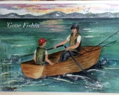 Father Son Birthday fishing trIp watercolor card print  (item MBD14)