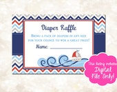 Nautical Baby Shower Diaper Raffle Card, Ahoy It's a Boy Themed Shower, Printable Diaper Raffle Card, Baby Shower Package, D004