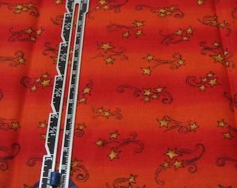 "Fat Quarter Quilting Cotton Red/Orange Stripe with Cartoon Stars - 18"" x 22"""