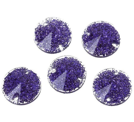 6 Pieces.Resin 2 Hole Connector Rhinestone Round Blue Glitter Faceted 12mm . Craft Supplies. DIY Supplies