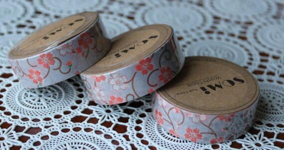 Scrapbook Supplies- 1 roll. Washi Tape. Flower Swirls - Little Laser Lab