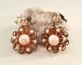 Vintage copper filigree and harlequin gold fleck glass clip on earrings