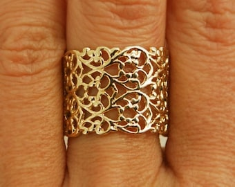 Gold ring, delicate ring, gold lace, wedding ring, gold wide ring, engagement ring, filigree ring