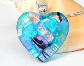 Glass Heart Pendant - Mixed Dichroic Glass Necklace - Patchwork Pendant - Fused Glass Jewelry - Blue Art Glass Heart