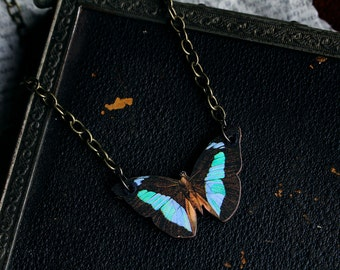 Mini butterfly vintage natural illustration laser/woodcut necklace