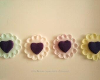 Gumpaste Heart Lace Wedding, Christening, Red,Pink, Pastel Edible Little Gumpaste Sugar Fondant & Royal Icing Flowers Australia