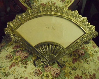 Victorian Art Deco Ornate Picture Frame Fan Style Brass Finish Lovely Vintage Vanity Decor