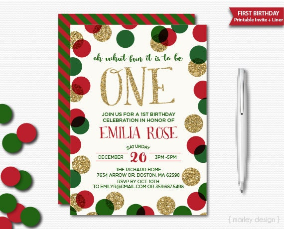 Holiday Birthday Invitation Red Green Gold Glitter First