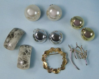 Vintage Clip Earrings and Pins 1950s Costume Jewelry