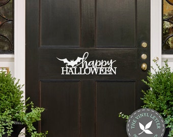 Happy Halloween Bat Door | Vinyl Wall Home Decor Holiday Decal Sticker