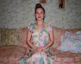 Sale ~ 70's Flower Evening Gown