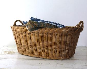 French Wicker Laundry Basket